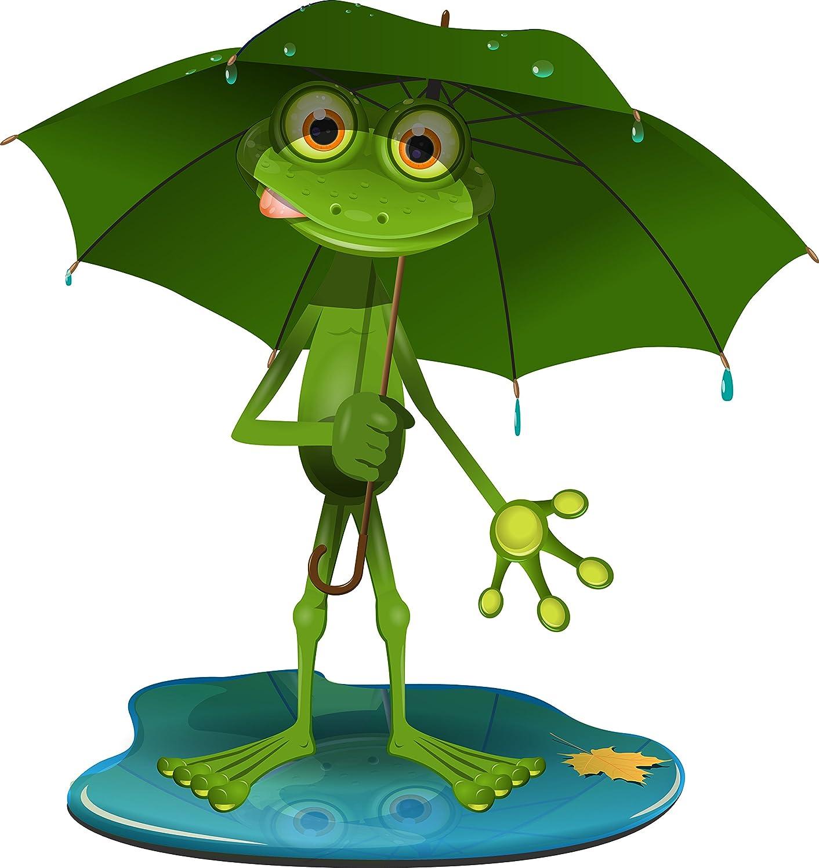 Etaia 10x9 Cm Lustiger Auto Aufkleber Frosch Im Regen Regenschirm Mistwetter Frog Kröte Frösche Fun Gag Cartoon Kinder Sticker Motorrad Auto