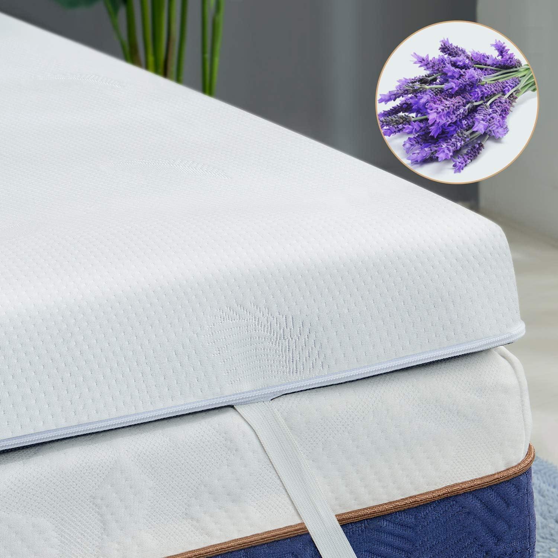 BedStory Colchón Topper Viscoelástico 90x190x5cm, Sobrecolchón Ergonómico con Funda Extraíble, con Esencia de Lavanda, Cubierta de Microfibra, CertiPUR-US Certificado, Diseño ventilado
