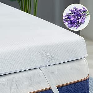 BedStory Colchón Topper Viscoelástico 135x190x5cm, Sobrecolchón Ergonómico con Funda Extraíble, con Esencia de Lavanda, Cubierta de Microfibra, CertiPUR-US Certificado, Diseño ventilado