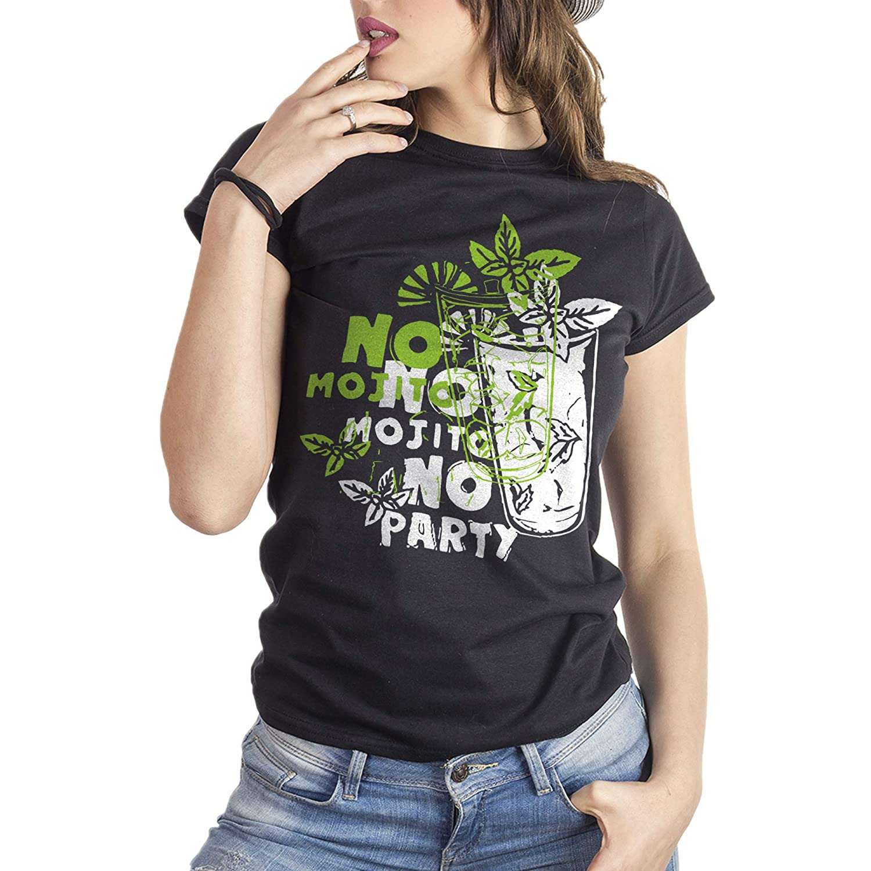 Mush Eighteen Clothing Funny T-Shirt Donna No Mojito No Party Famous