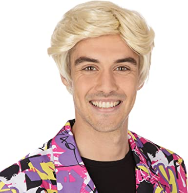 1960s 1970s 1980s Boy Band Short Blonde Wig Fancy Dress Stag Do Accessory New