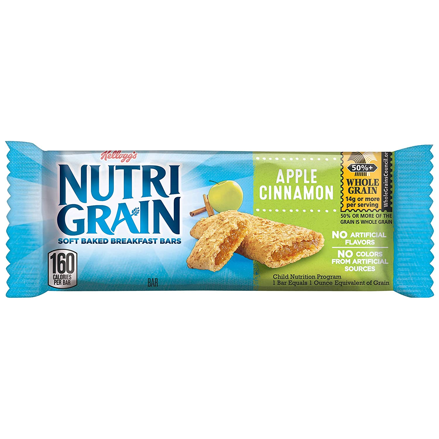 Kellogg's Nutri-Grain Cereal Bars made with 14g Whole Gain, Apple Cinnamon, 24.8oz (Pack of 6, 96 bars)