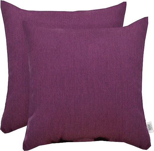 Set Of 2 Indoor Outdoor Square Throw Pillows Sunbrella Canvas Hot Pink Home Décor Home Décor Pillows