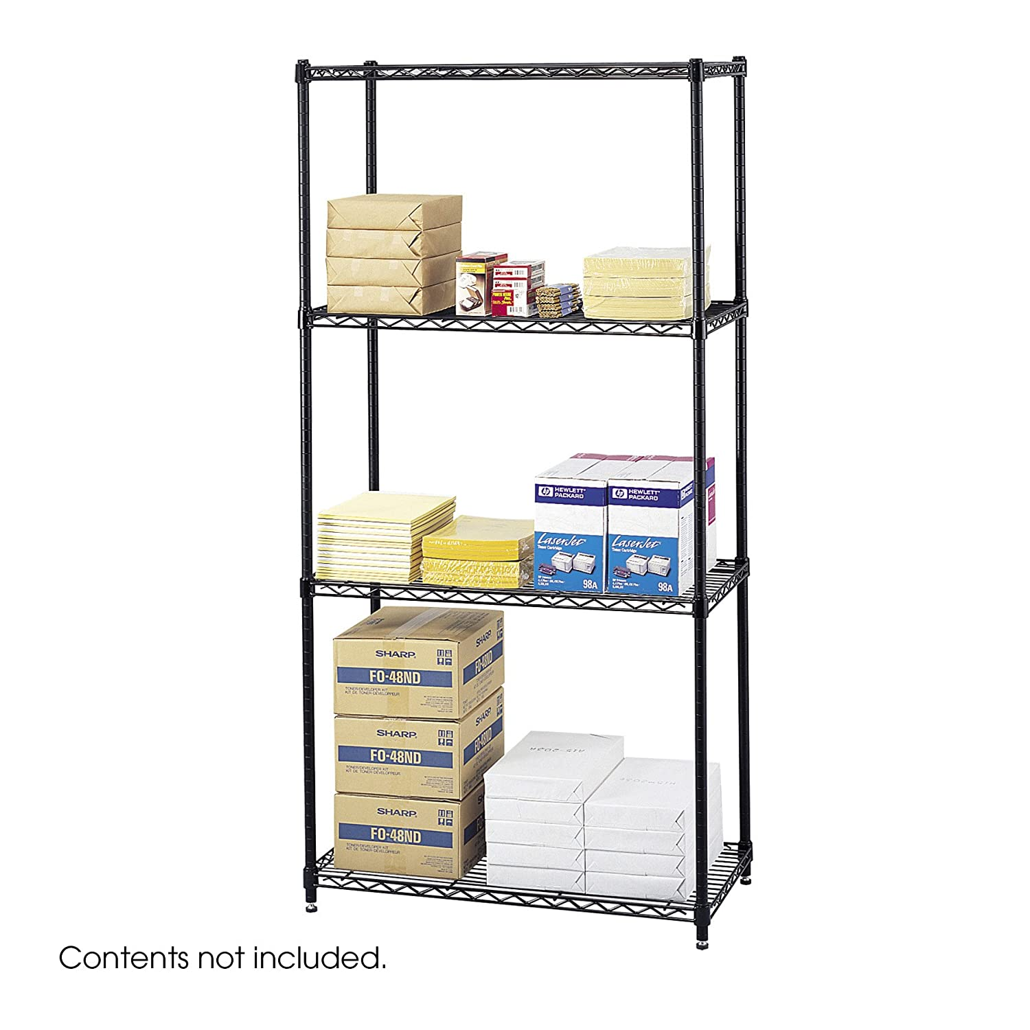 "Amazon.com: Safco Products 5276BL Commercial Wire Shelving 36"" W x 18"" D  Basic Unit (Extra Shelves 5243BL sold separately), Black: Kitchen & Dining"
