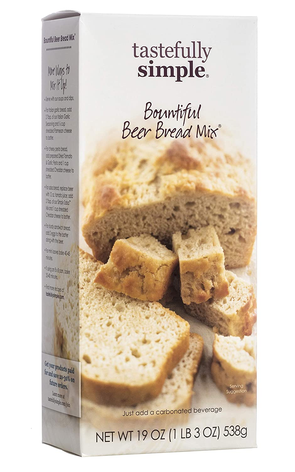 Tastefully Simple Bountiful Beer Bread Mix - Just Add Water! - 19 oz