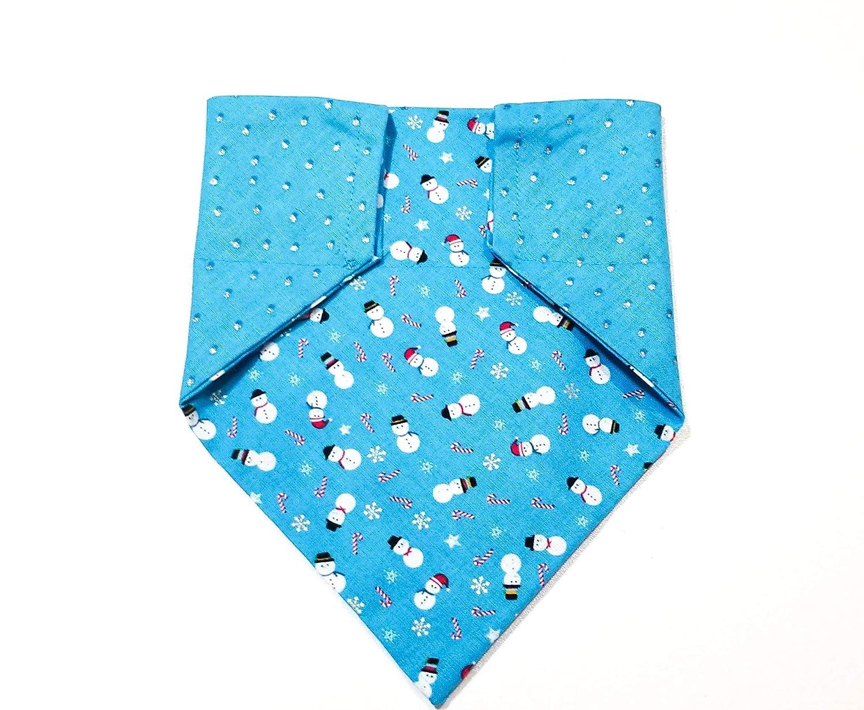 Christmas Snowman Holiday Reversible Pattern Pet No-Tie Dog Bandana Slip On
