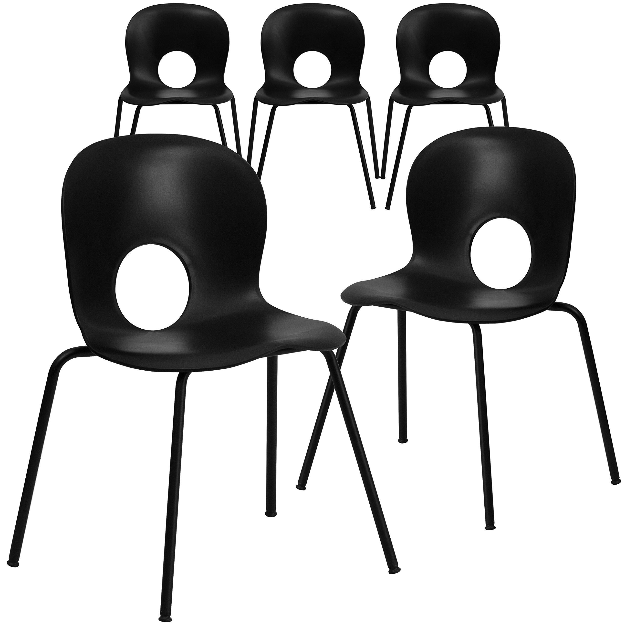 Flash Furniture 5 Pk. HERCULES Series 770 lb. Capacity Designer Black Plastic Stack Chair with Black Frame