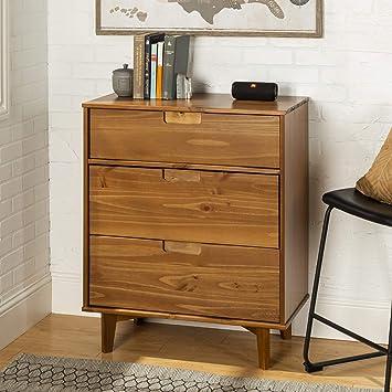 WE Furniture 3 Drawer Mid Century Modern Wood Dresser Bedroom Storage,  Caramel