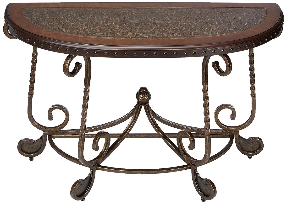 Ashley Furniture Signature Design - Rafferty Sofa Table - Traditional Style Entertainment Console Table - Semi Circle - Dark Brown