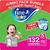 Fine Baby Diapers, DoubleLock Technology , Size 5, Maxi 11–18kg, Jumbo Pack. Value bundle pack, 3 packs of 44 diapers…