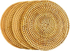 Rattan Trivets for Hot Pots and Pans,Rattan Drink Coasters ,Exotic Handmade Artisan teapot Coasters, Creative Gift,Diameter 7.08 Inch, Set of 4
