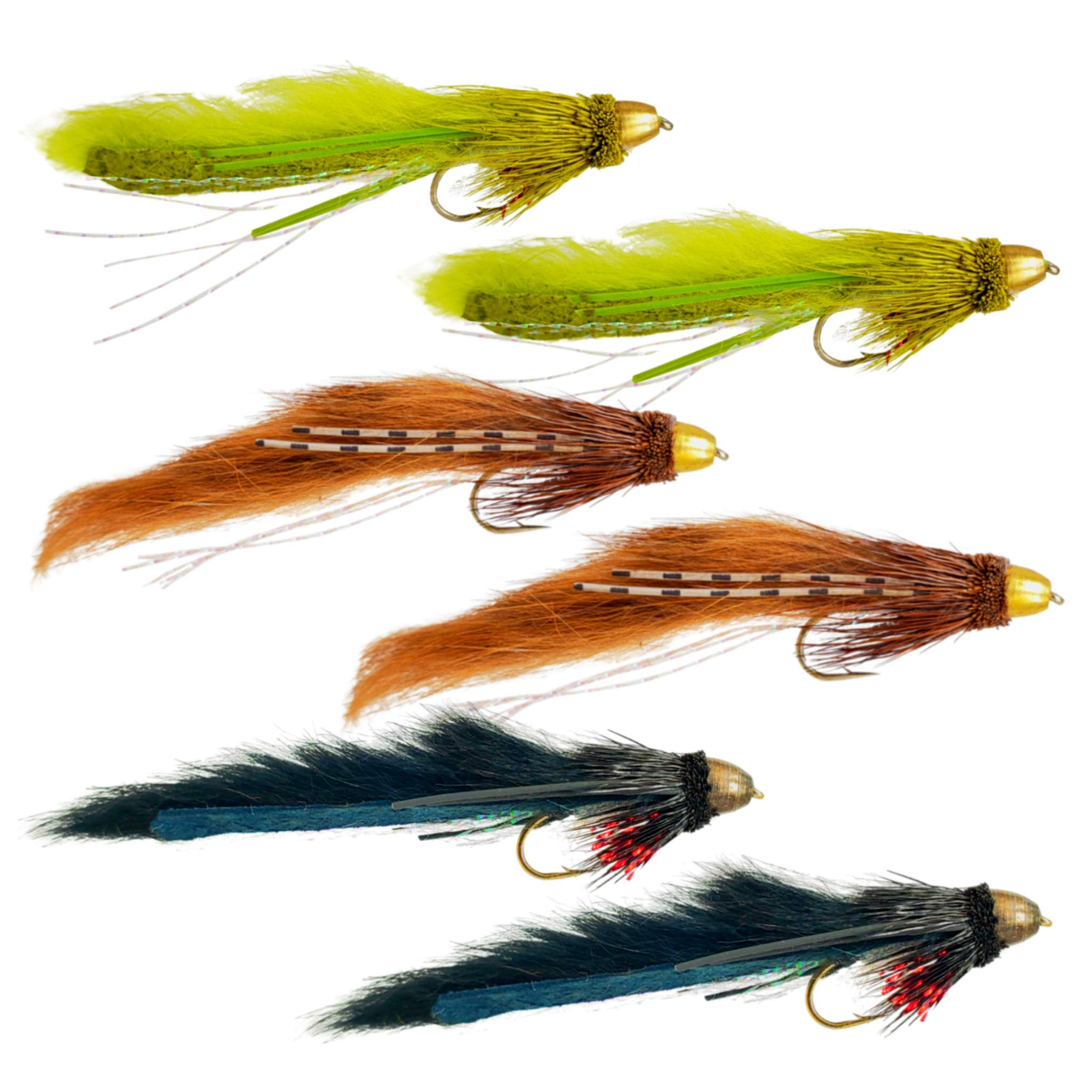 The Fly Crate Muddy Bunny Streamer Assortment | Fly Fishing for Trout Bass Pike | Size 8 by The Fly Crate