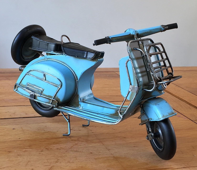 Lovely Grande (32cm de long) Boîte rétro vintage en métal Scooter Vespa Mod Vélo Moto Ornement–Ornement pour une étagère ou un bureau–Idée cadeau. SIL