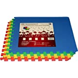 JSG Accessories? Outdoor/Indoor Protective Flooring Mats - Interlocking Reversible Floor Matting suitable for Gym, Play Area, Exercise, Yoga in MULTICOLOUR (Red, Blue, Gree, Yellow) 4-48 tiles (16-192sqft)