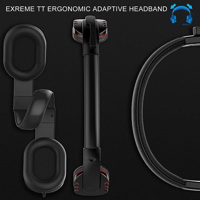 Auriculares gaming cerrados PC con micrófono, sonido envolvente Migvela Cascos con cable USB, viene con botón de fácil acceso, almohadillas giratorias ideal ...