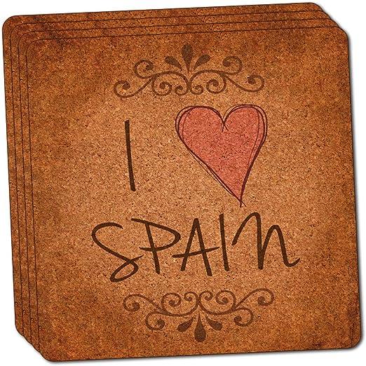 I corazón amor España vintage fina de corcho juego de posavasos de ...