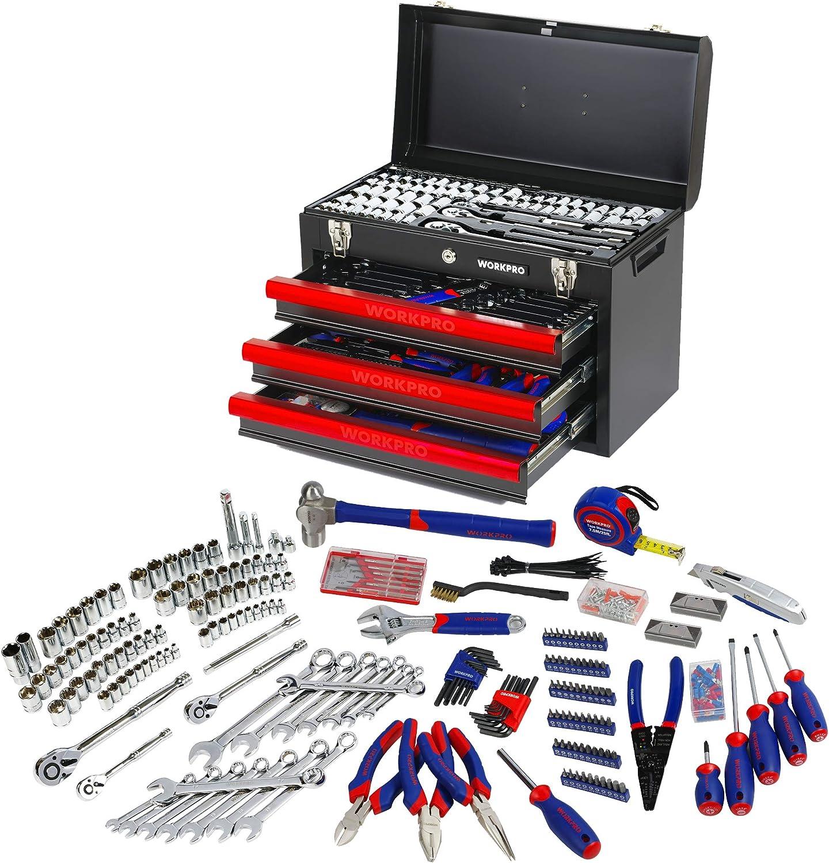 WORKPRO 408piezas Juego de herramientas mecánicas, Caja de herramientas completa para mecánicos con 3 cajones, caja de herramientas con caja de metal resistente