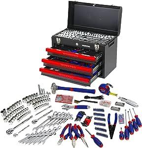 WORKPRO 408piezas Juego de herramientas mecánicas, Caja de herramientas completa para mecánicos con 3 cajones, caja de herramientas con caja de metal resistente: Amazon.es: Bricolaje y herramientas