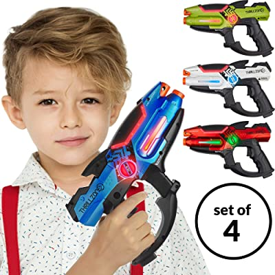 ThrillZone Laser Tag Guns Set – 4 Pack Multiplayer Laser Tag Gun, No Vest Needed – Indoor & Outdoor Group Fun – Safe Infrared Lazer Toy Blasters for Kids with Vibrations, Sound Effects, Lights: Toys & Games