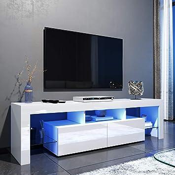 Elegante - Mueble de TV LED Blanco Brillante para salón y Dormitorio con Muebles de Almacenamiento para TV de 32 40 43 50 52 Pulgadas 4K Style B-1600x350x450mm Blanco: Amazon.es: Electrónica