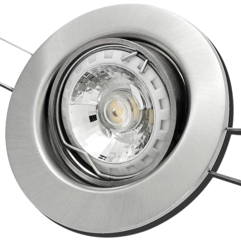 7 Stück MCOB Modul Einbaustrahler Elena 230 Volt 5 Watt Schwenkbar Edelstahl geb.   Warmweiß