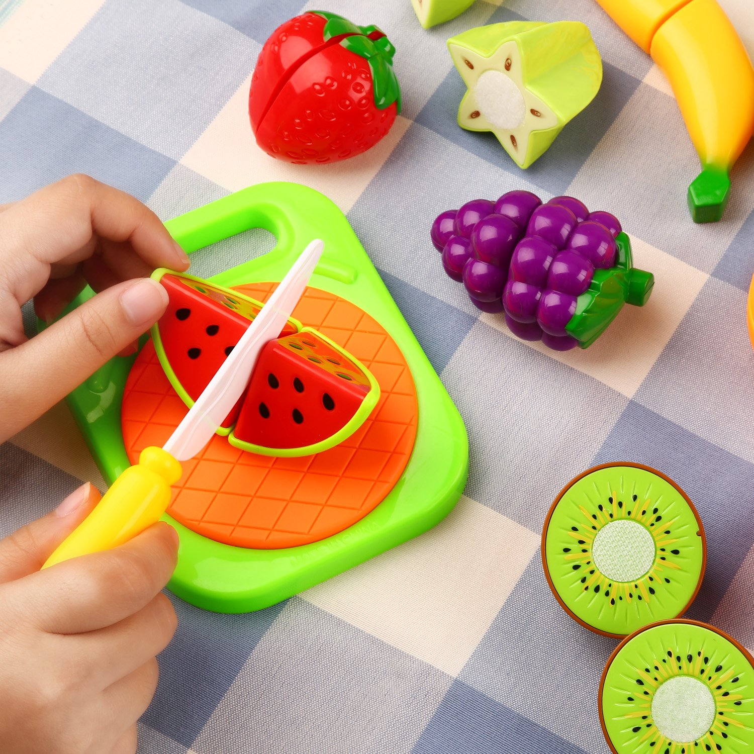 Play Food Cutting Fruit and Vegetable Toys Pretend Role Play Game with Plastic Velcro Fruit Cake Chopping Board Set and Apron Preschool Learning for Children Kids Toddlers Birthday Gift by Peradix