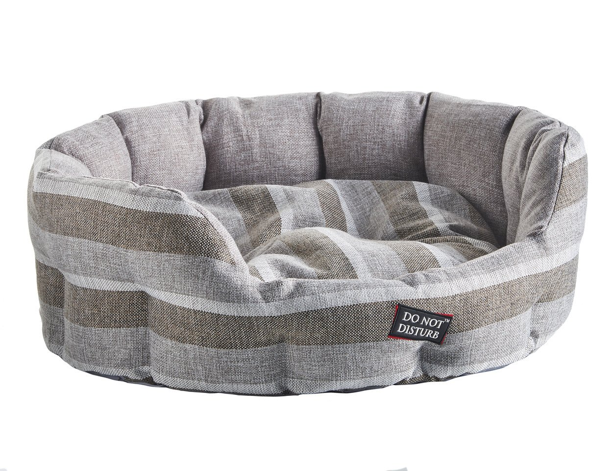 Do Not Disturb Hundebett, oval, 71 cm, gestreift, grau