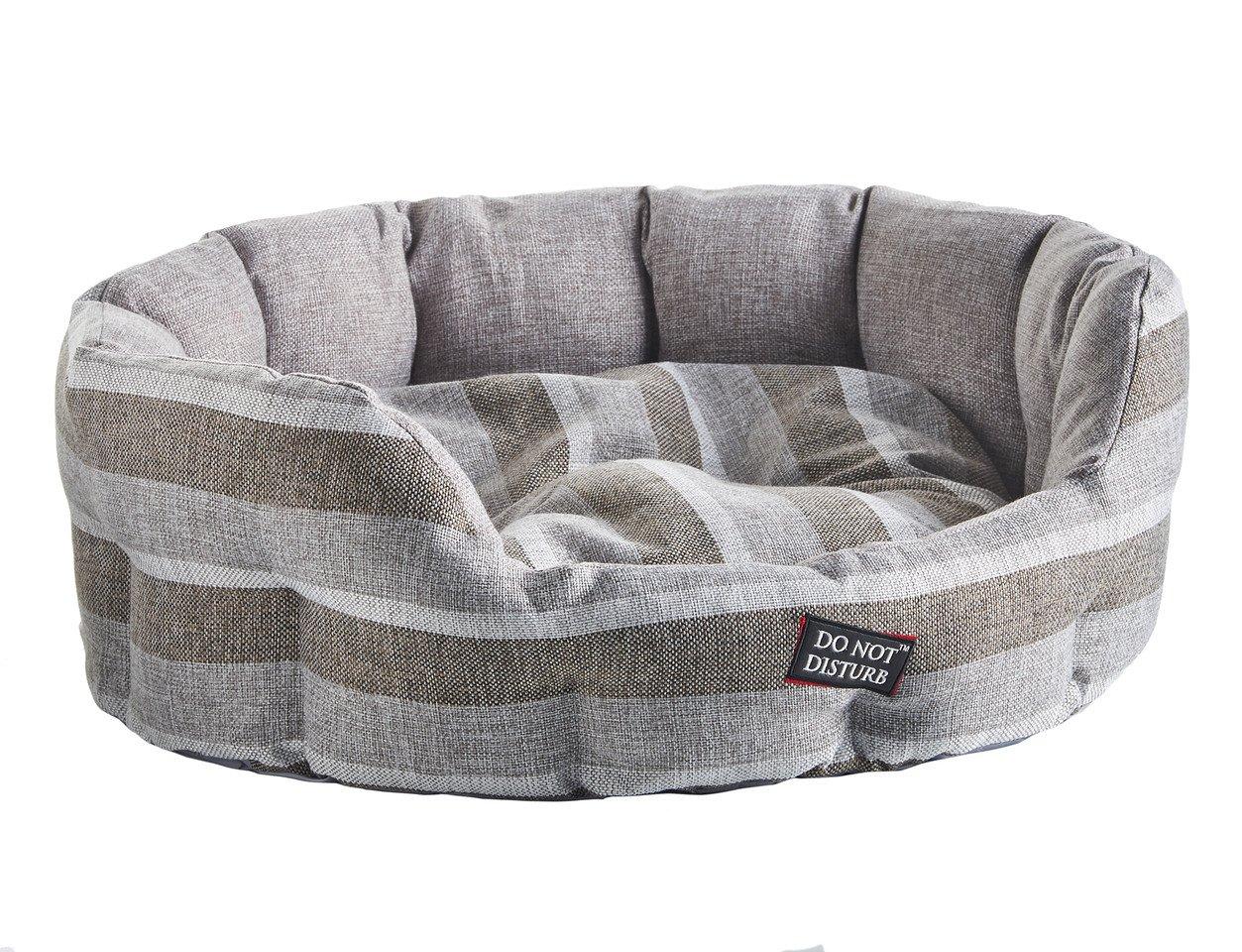 Do Not Disturb Hundebett, oval, 71cm, gestreift, grau