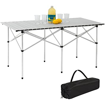 Best Choice Products Camping Portable Aluminum 55u0026quot; Roll Up Picnic Table  W/ Carrying