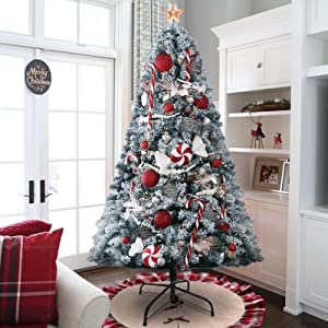 KINGSO 6ft Artificial Christmas Tree Snow Flocked Full Christmas Trees Premium Spruce Hinged White Xmas Tree for Home Party Office Holiday Decoration with Metal Foldable Stand, 1300 Branch Tips
