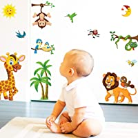 Animals Wall Stickers for Kids - Baby Room Decor Wall Sticker Toddlers Bedroom Decals Learning Removable Sticker Nursery…