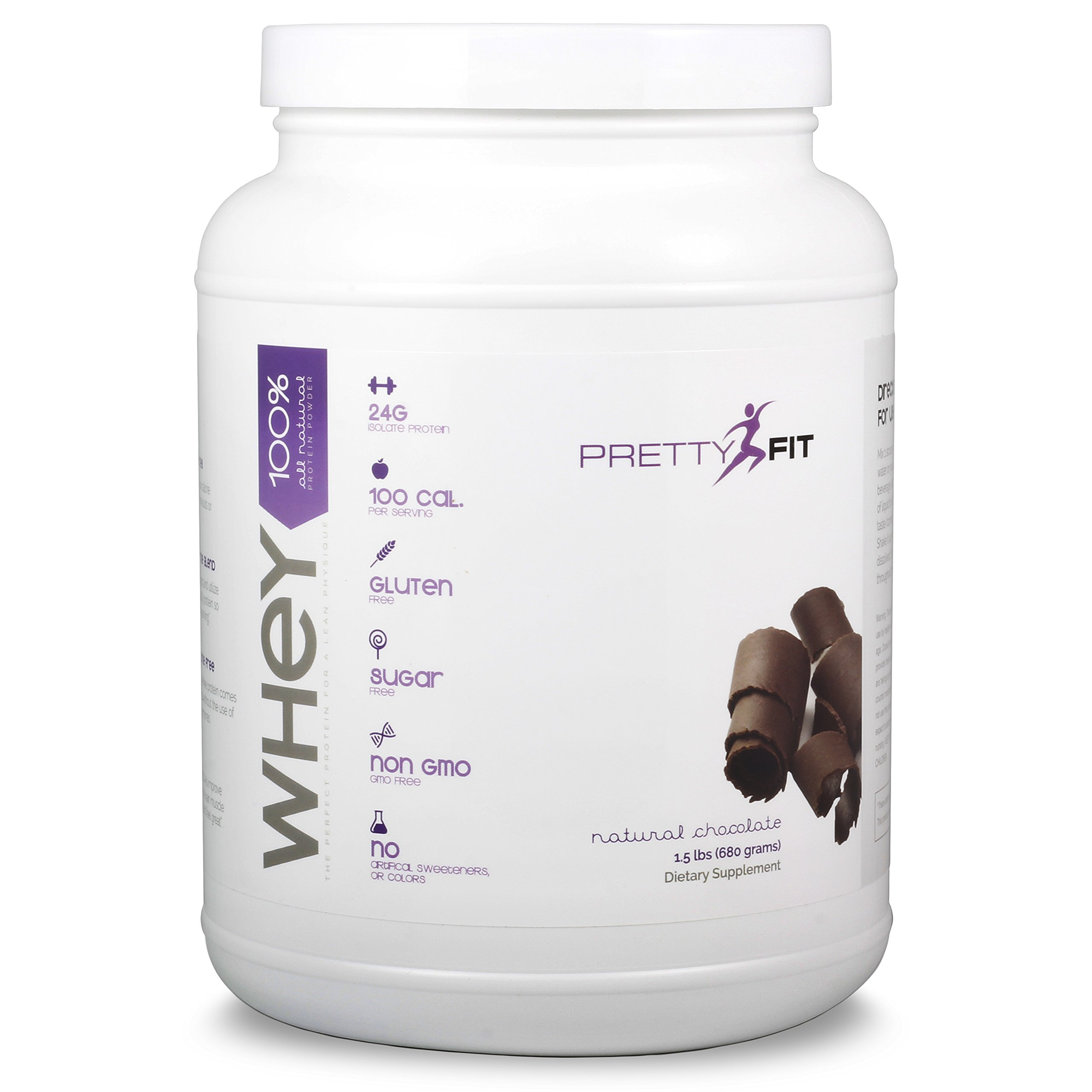 PrettyFit All-Natural Whey Protein Isolate - 24 Servings - Whey Protein Powder for Women - 100 Calories, 0 Sugars, <1g Carbs, Gluten-Free, w/ Digestive Enzymes (Natural Chocolate)