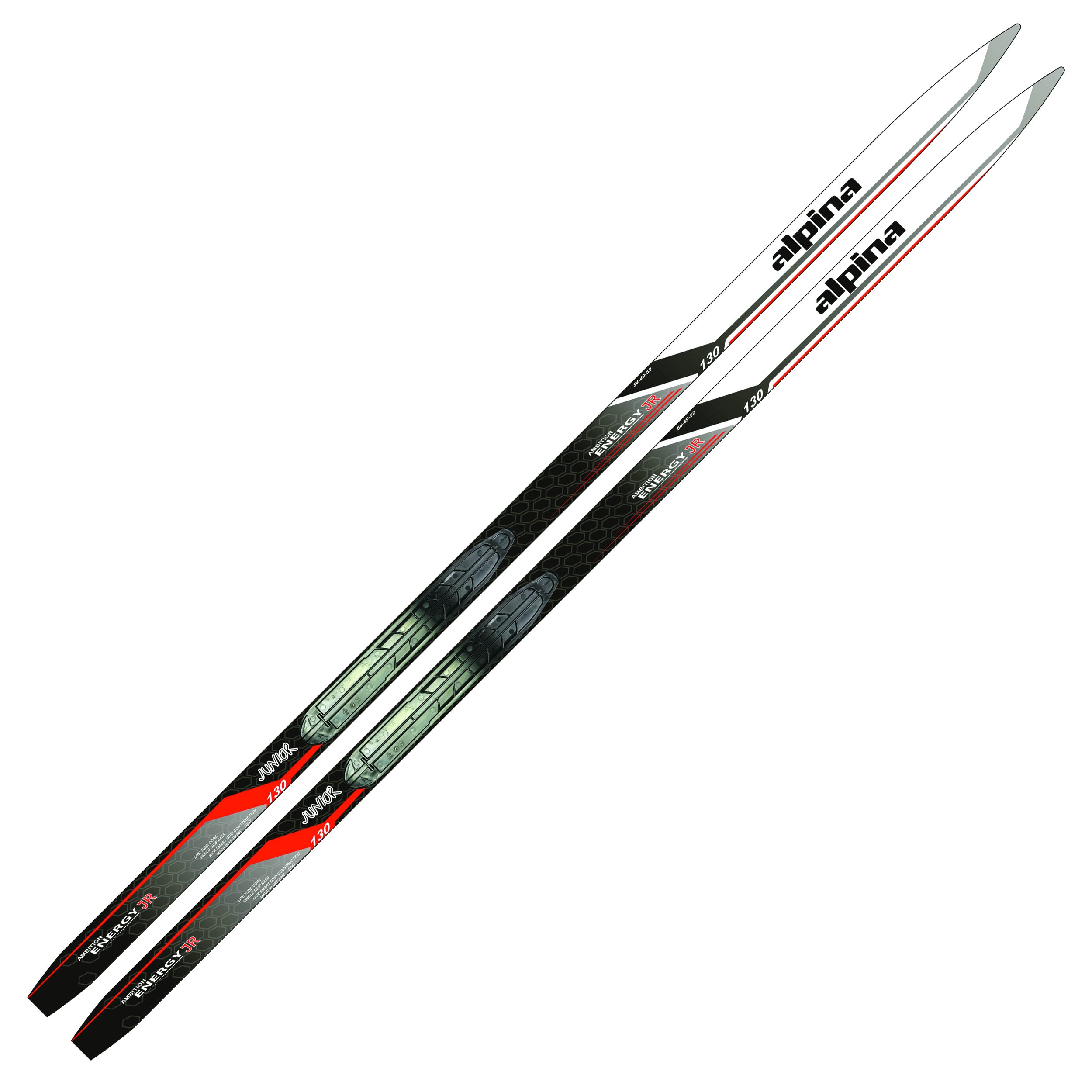 Alpina Sports Youth Energy Junior Cross-Country Nordic Touring Skis with Rottefella NIS Binding Mounting Plates, 130cm by Alpina