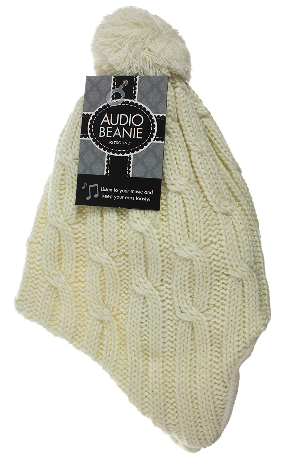 d299d2383a3 KitSound Audio Peruvian Cable Knit Bobble Beanie with  Amazon.co.uk   Electronics