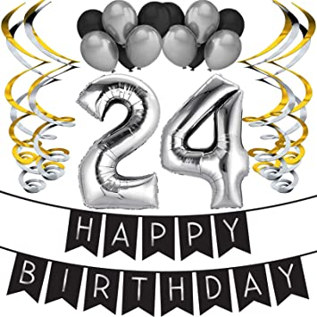 24th Birthday Party Pack - Black & Silver Happy Birthday Bunting, Balloon, and Swirls Pack- Birthday Decorations - 24th Birthday Party Supplies