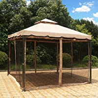 Mastercanopy 10X10 Patio Rome Gazebo Canopy Soft Top with Mosquito Netting (Beige)