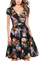 oxiuly Women's V-Neck Cap Sleeve Floral Casual Work Stretch Swing Dress OX233