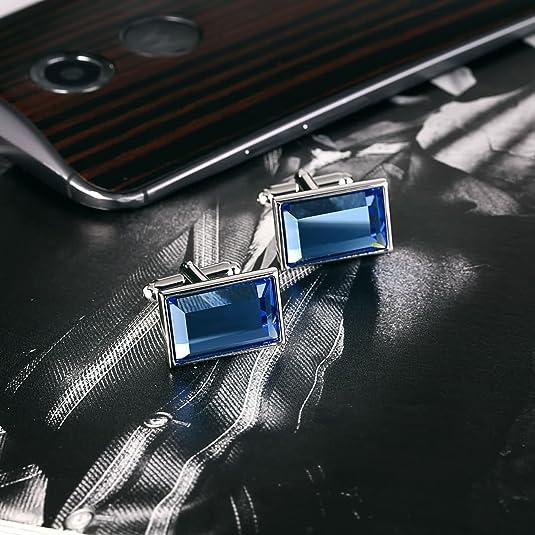 AmDxD Acier Inoxydable Boutons de Manchette pour Homme Multicolore Rectangle Bouton de Manchette Homme Personnalis/é 1.8x1.3CM
