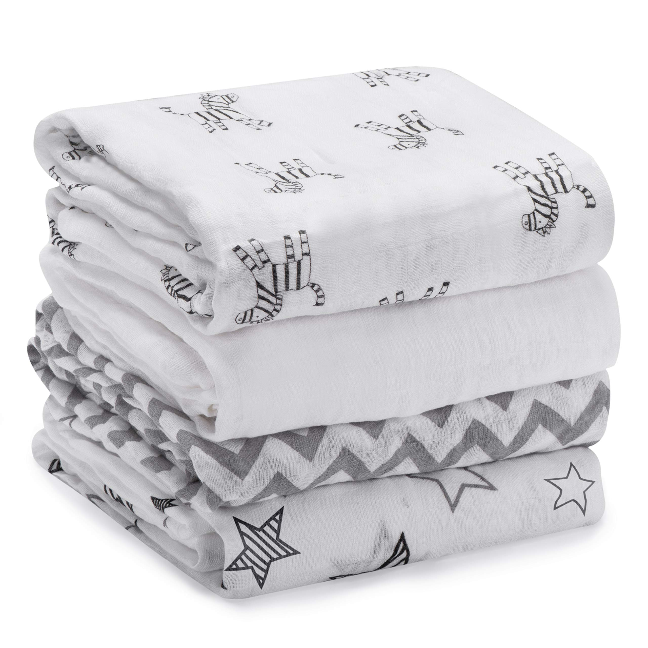 Momcozy Muslin Baby Swaddle Blankets, Large Neutral Receiving Blankets Wrap for Baby, 47 x 47 inch, 4 Pack, Soft Silky 30% Cotton + 70% Bamboo. Newborn to Toddler. (Zebras, Stars, Waves, Pure White) by Momcozy