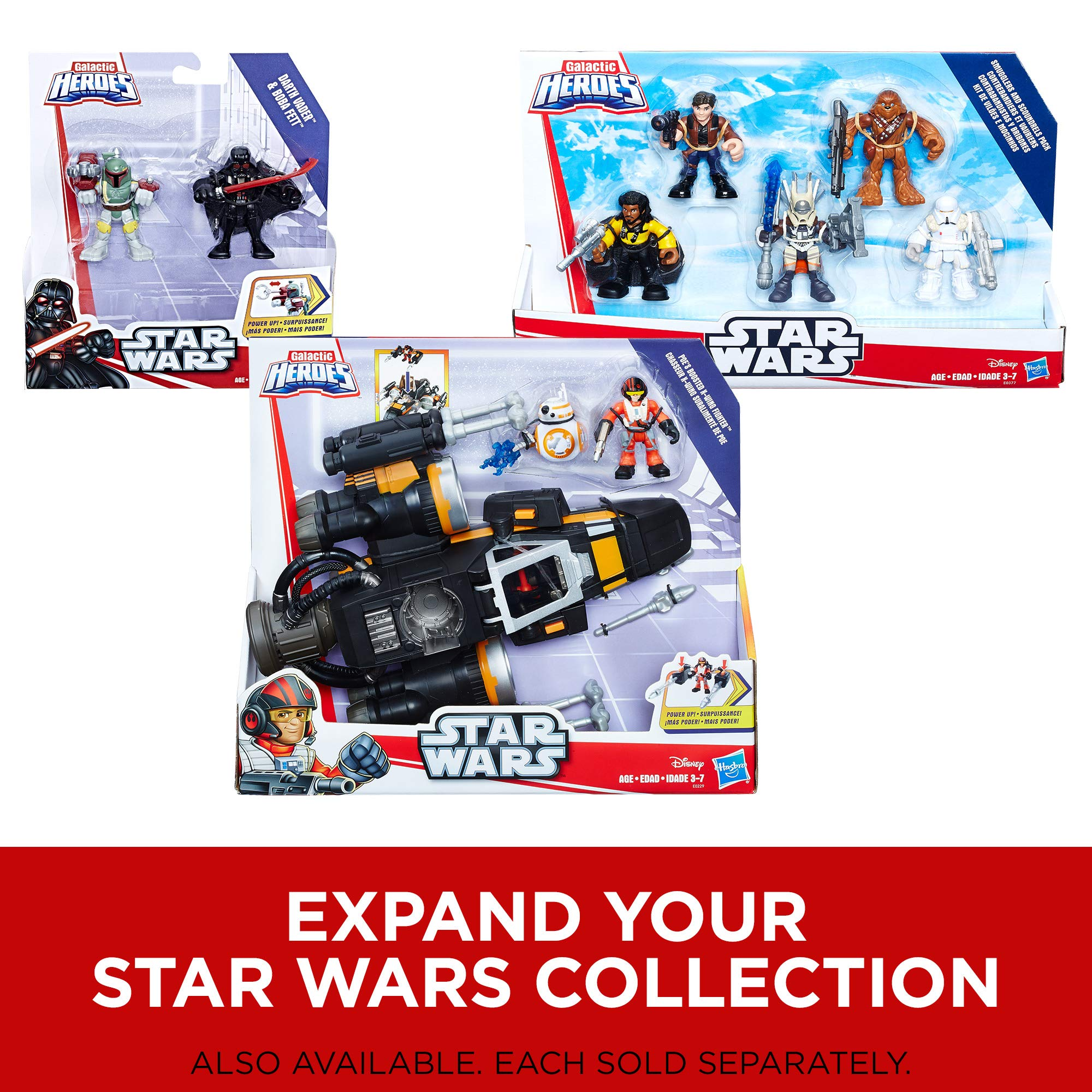 Star Wars Galactic Heroes 2-In-1 Millennium Falcon Vehicle Playset, Chewbacca, R2-D2 2.5-Inch Action Figures, Lights and Sounds, Toys for Kids Ages 3 and Up by Playskool (Image #6)