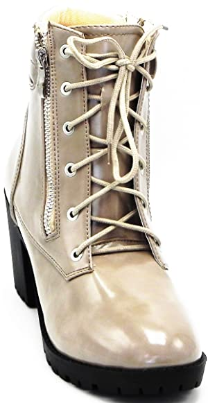 Women`s New Fashion Patent Leather Heel Lace up Ankle Boot Shoes....
