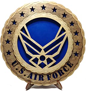 Contemporary Air Force Wings Armed Forces Decorative Custom Laser Crafted Three Dimensional Wooden Wall Plaque