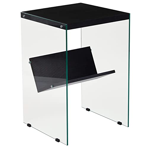 Flash Furniture Highwood Collection Dark Ash Finish End Table with Shelves and Glass Frame, NAN-JN21708E-GG