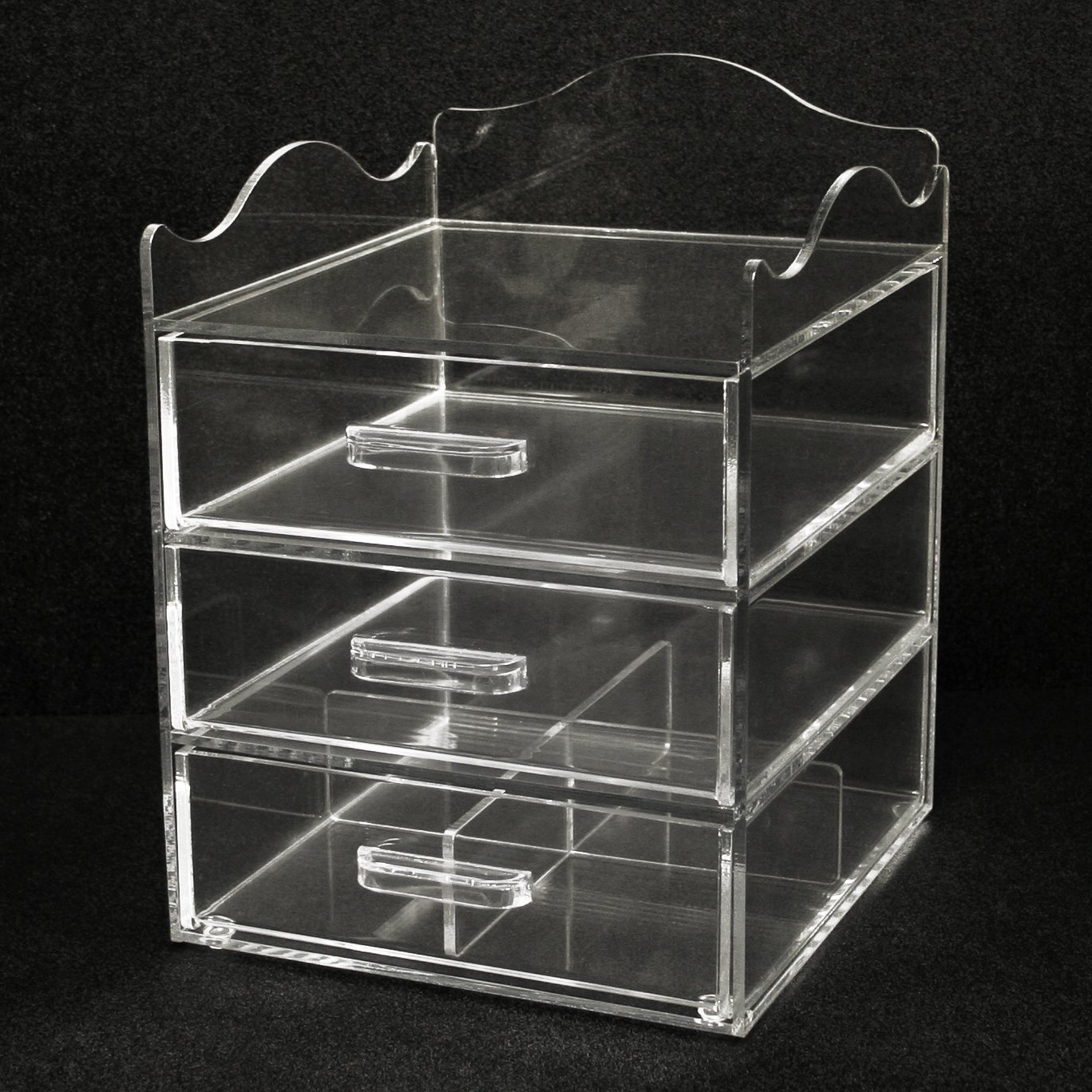Clear Acrylic Makeup & Cosmetic Organizer, 9.5''W x10''D x 13''H, 3 Drawers with a Pretty Curved Edge on Top with Space for Storing Taller Items. Made in the USA! by PPM.