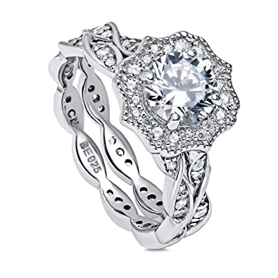 5729a1c0351 BERRICLE Rhodium Plated Silver Cubic Zirconia CZ Art Deco Halo Woven Engagement  Ring Set Size 4