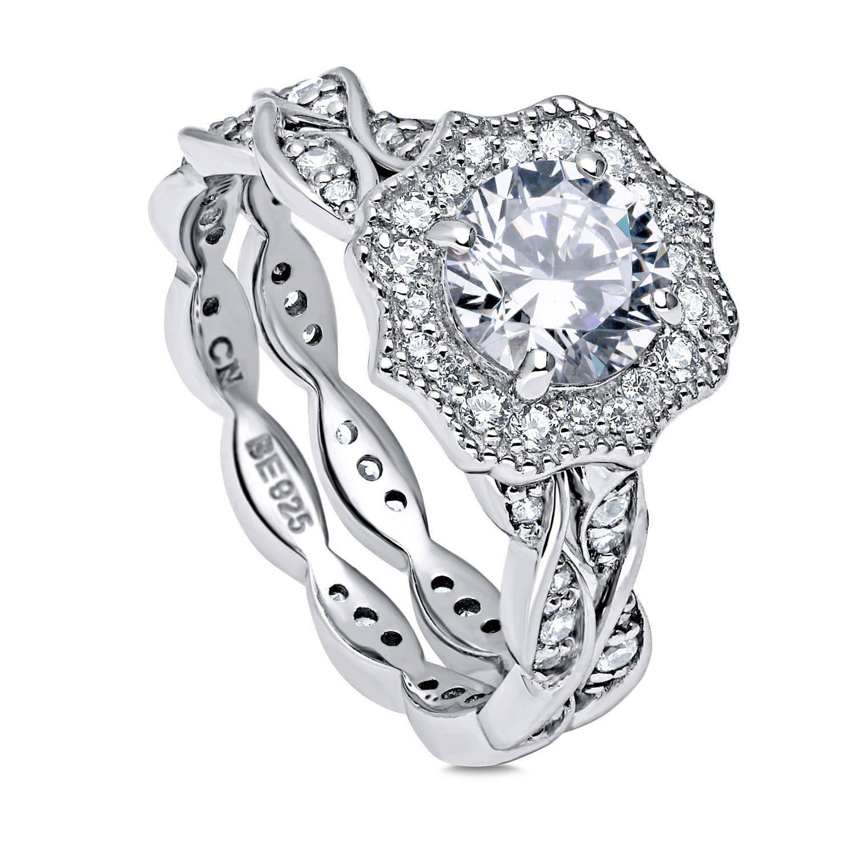 BERRICLE Rhodium Plated Sterling Silver Round Cubic Zirconia CZ Art Deco Halo Milgrain Engagement Wedding Ring Set 1.68 CTW Size 6