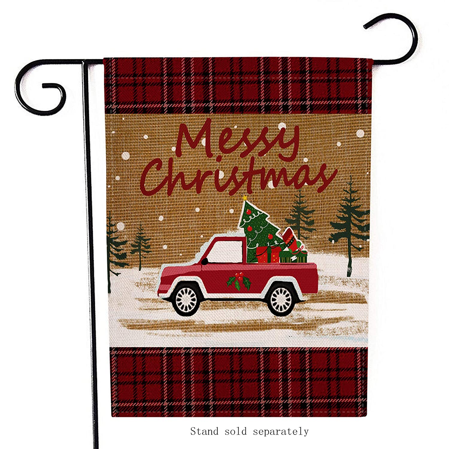 Amazon.com : Selmad Home Decorative Merry Christmas Garden Flag Red Truck Double Sided, Rustic Quote House Yard Flag Winter Xmas Pickup, Holiday Plaid ...
