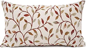 YOUR SMILE Farmhouse Oblong Rectangle Floral Chenille Embroidery Decorative Throw Pillow Case Cushion Cover Lumbar Pillowcase for Sofa 12 x 20 Inch, Brown Leaves