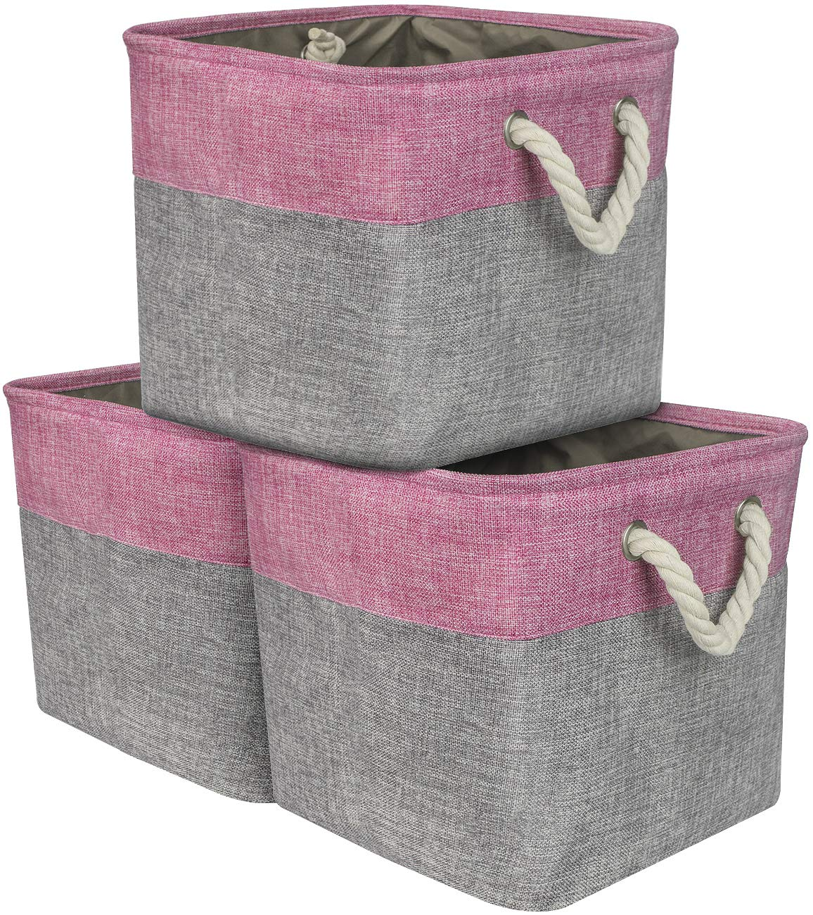 Sorbus Cube Storage Bins Basket Set [3-Pack] Large Square Cube Fabric Collapsible Organizer Bin with Cotton Rope Carry Handles for Linens, Toys, Clothes (Pink) by Sorbus