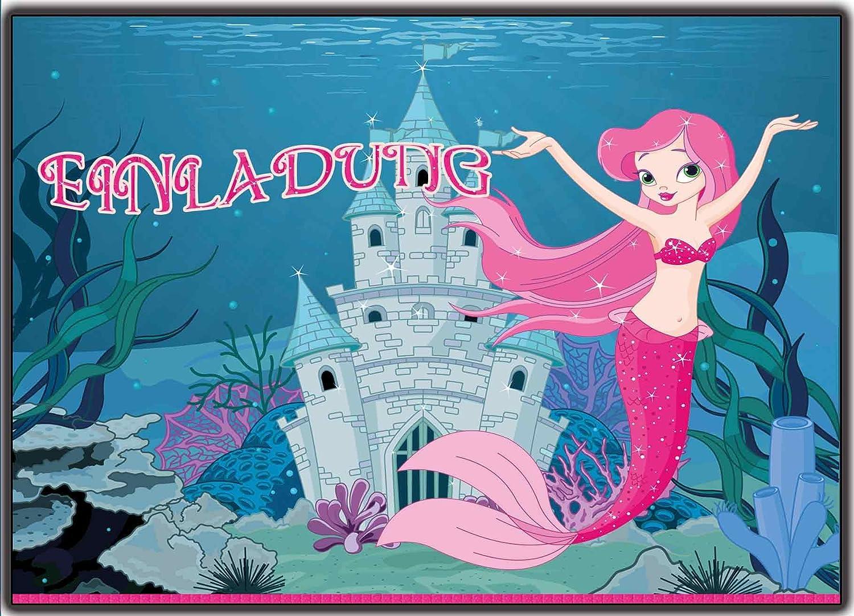 Einladungskarten Kindergeburtstag Meerjungfrau (8 Stück): Amazon.de:  Bürobedarf U0026 Schreibwaren